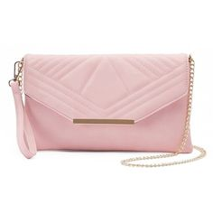 Yoki Quilted Flap Convertible Clutch ($24) ❤ liked on Polyvore featuring bags, handbags, clutches, pink, quilted purses, man bag, envelope clutch, quilted hand bags and envelope clutch bag