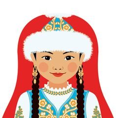 Kazakh Wall Art Print featuring culturally traditional dress drawn in a Russian matryoshka nesting doll shape Art Wall Kids, Art For Kids, Adoption Gifts, World Thinking Day, Nursery Art, Painting Inspiration, My Drawings, Wall Art Prints, Dolls