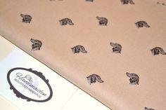 Vintage 1980's Reprint BEIGE DOGS 100% Half Panama Polyester - retro pattern
