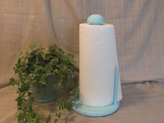 Lovely, Solid Wood, Painted, Distressed Decor, Cottage Chic, Aqua-Robin Egg Blue, Kitchen Decor, Paper Towel Holder, Upcycled by ClassicMontage on Etsy