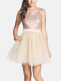 Such a pretty sequin ballerina dress for homecoming.