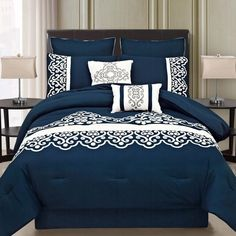 This royal blue bedding set features a white motif pattern on the dark blue color. Royal Blue Bedding, Royal Blue Bedrooms, Blue Bedding Sets, Blue Comforter, King Bedding Sets, Luxury Bedding Sets, Crib Bedding, Elegant Comforter Sets, Bed Spreads