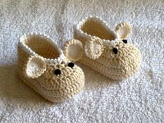 crochet baby shoes / booties / slippers/ Mouse by CREAZIONIFIOPI