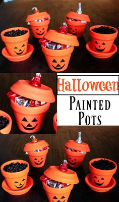 Halloween Painted Pots Halloween Craft Ideas Halloween Gift Ideas DIY Halloween Fun Ideas for Halloween Happily Hughes Halloween Designs, Halloween Crafts For Kids, Diy Halloween Decorations, Holidays Halloween, Halloween Treats, Diy Halloween Gifts, Halloween Clay, Fun Diy Crafts, Fall Crafts
