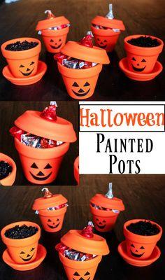 Halloween Painted Pots   Halloween Craft Ideas   Halloween Gift Ideas   DIY Halloween   Fun Ideas for Halloween    Happily Hughes