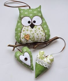 Textile sovushki + pattern  stuffed fabric owl and  heart decoration or soft toy