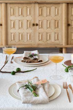 Basil Hayden Modern Napkins, Rose Gold Flatware, Roasted Radishes, Wood Cake, Bourbon Drinks, Simple Syrup, Serving Platters, Fresh Herbs, Dinner Plates