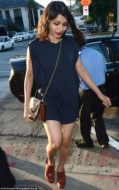 Thighly impressive: Freida Pinto showcased her lovely legs in West Hollywood on Wednesday...