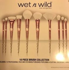 Wet N Wild Limited Edition 10 piece Holiday Pro Brush Set 2018 77802363435 | eBay Nude Makeup, Drugstore Makeup, Wet N Wild Cosmetics, Beauty Solutions, Highlighter Brush, Eye Brows, Brow Bar, Drug Store, Beauty Must Haves