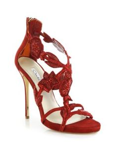 Oscar de la Renta - Tatum Beaded-Flower Suede Sandals