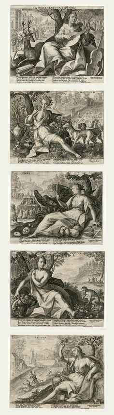 """""""The Five Senses"""" by Crispijn de Passe after Marten de Vos"""