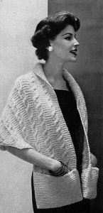 Vintage Knitting PATTERN to make - Knitted Warm Shawl Wrap Pockets. NOT a finished item. This is a pattern and/or instructions to make the item only. - I Crochet World Shawl Patterns, Sweater Knitting Patterns, Loom Knitting, Free Knitting, Stitch Patterns, Knitting Scarves, Vogue Knitting, Knit Sweaters, Knitting Machine