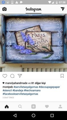 Napkin Decoupage, Decoupage Vintage, Vintage Paper, Vintage Wood, Diy Painting, Painting On Wood, Diy And Crafts, Arts And Crafts, Diy Wood Projects