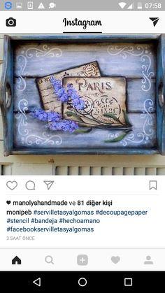 Napkin Decoupage, Decoupage Vintage, Diy Painting, Painting On Wood, Diy And Crafts, Arts And Crafts, Mandala Art, Vintage Wood, Altered Art