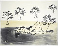 Laying with the Olive Trees by Tracey Emin 2011 Edition of Lithograph on Somerset Velvet paper. Signed, numbered and dated by the artist. Tree Artwork, Artwork Images, Artwork Prints, What Is Contemporary Art, Tracey Emin, Tree Print, Global Art, Mixing Prints, Limited Edition Prints