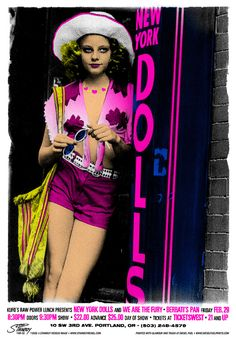 """New York Dolls with We Are The Fury • Berbati's Pan, Portland OR, 2/29/08 • 22"""" x 32"""", five-color silkscreen. ©2008 Greg Stainboy Reinel"""