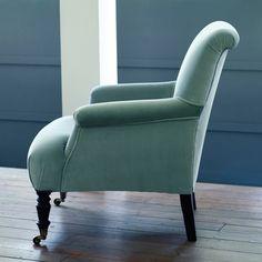 Finley Velvet Armchair, Duck Egg