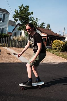 Skate-boarding through Norfolk, VA.