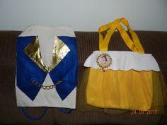 a bolsa é em feltro com tule , a imagem da bela é em tecido, a mochila feita em algodão cru