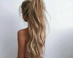 Hair, long, straight, blonde, highlights, half pony, updo, curls, waves, natural, high pony