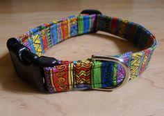 African Tribal Dog Collar Laurel Burch by ChickadeeWay on Etsy, $15.00