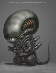 """Did a fun 24hr poll yesterday on which one I should do a """"Cute Version"""" of: Predator, Alien or Pinhead. Honestly when I was posting the poll I was think...."""