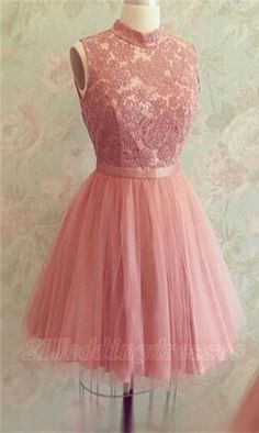 Pretty Pink High Neck Lace Homecoming Dresses,Cute Graduation Dresses,Modest Graduation Dresses http://21weddingdresses.storenvy.com/collections/919482-homecoming-dresses/products/17018856-pretty-pink-high-neck-lace-homecoming-dresses-cute-graduation-dresses-modest