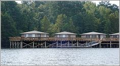 Santee State Park has 10 popular pier cabins that sit on a pier over Lake Marion.  Santee, South Carolina