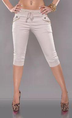Béžové capri kalhoty Bermuda Shorts, Capri Pants, Zip, Women, Fashion, Moda, Capri Trousers, Women's, Fashion Styles