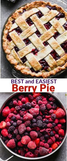 just can't beat this simple and delicious homemade triple berry pie! It holds together perfectly and uses fresh or frozen berries. Dessert Simple, Simple Pie, Easy Pie Recipes, Baking Recipes, Oven Recipes, Köstliche Desserts, Dessert Recipes, Desserts With Berries, Frozen Desserts