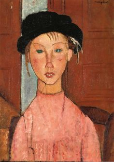 Modigliani: Young Girl in Beret (1918). Oil on canvas (private collection).