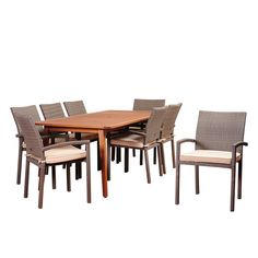 great escape patio dining sets. amazonia maiori 9-piece eucalyptus/ wicker rectangular patio dining set with off-white great escape sets