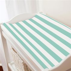 Mint Stripe Changing Pad Cover made with care in the USA by Carousel Designs. Mint Nursery, Free Fabric Swatches, Carousel Designs, Striped Fabrics, Changing Pad, Repeating Patterns, Mattress, Toddler Bed, Outdoor Blanket