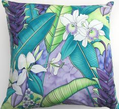 Teal and Purple Pillow Cover -- Turquoise and Lilac Tropical Orchids Flowers and Leaves -- 18 x 18