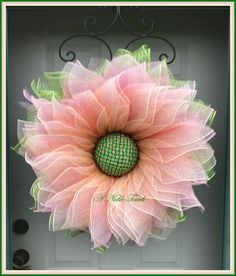 Items similar to Deco Mesh Flower Wreath, Summer Wreath, Spring Wreath, Front Door Wreath, with Faux Green and Pink Gems in the Center by A Noble Touch on Etsy Wreath Crafts, Diy Wreath, Wreath Ideas, Gold Wreath, Wreath Making, Burlap Wreath, Deco Mesh Wreaths, Flower Wreaths, Ribbon Wreaths