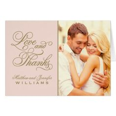 Elengant Wedding Thank You Cards Love and Thanks | Wedding Thank You Card