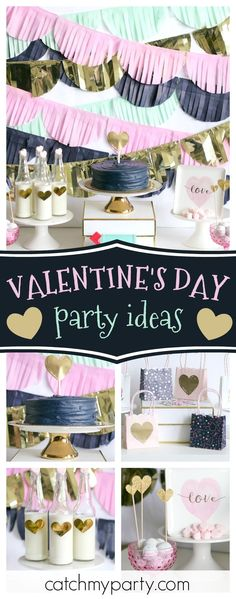 Take a look at this stylish 'Let Love Twinkle' love and friendship Valentine's Day party! The milk bottles are so cute!! See more party ideas and share yours at CatchMyParty.com #catchmyparty #partyideas #valentinesdayparty #friendship