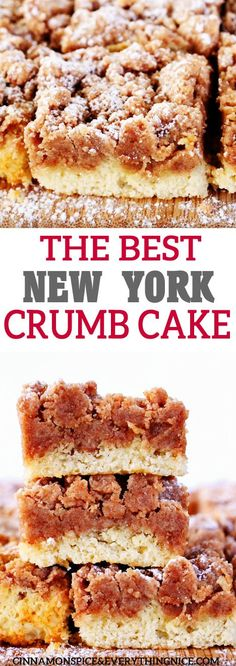 New York Crumb Cake The Best NY Crumb Cake - with a giant layer of delicious crumbs and a tender cake!The Best NY Crumb Cake - with a giant layer of delicious crumbs and a tender cake! Baking Recipes, Cake Recipes, Dessert Recipes, Baking Tips, Just Desserts, Delicious Desserts, Light Desserts, Summer Desserts, Summer Recipes