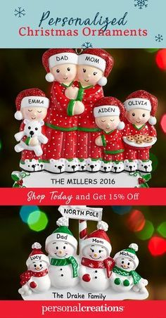 Create a personalized Christmas ornament that perfectly fits your family. Shop today and get 15% off your order.