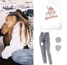 Ariana Grande Outfits, Dangerous Woman, Cut Jeans, I Got This, Manchester, First Love, Crew Neck, T Shirts For Women, Celebrities