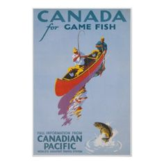 #fishing - #Canada for Game Fish Vintage Travel Poster