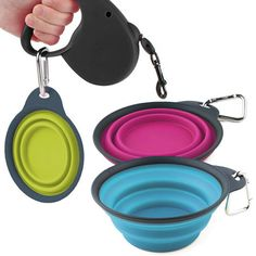 Popware Collapsible Dog Travel Cup - flat and lightweight. Clips to lead or belt. Pop it out into a bowl when your dog needs it http://www.dfordog.co.uk/popware-collapsible-dog-travel-cup.html