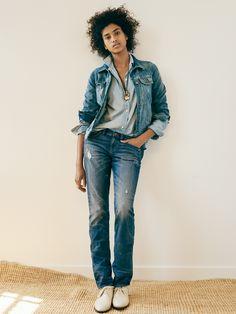 madewell slim boyjean worn with the jean jacket, slim boyshirt, ropeclimb necklace + the jess oxford. #denimmadewell