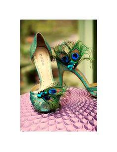 Fancy Shoe Clips Peacock & Teal Bow. Summer Wedding, Sophisticated Bride Bridesmaid, Bridal Party Gift, Burlesque Boudoir, Turquoise  Aqua via Etsy