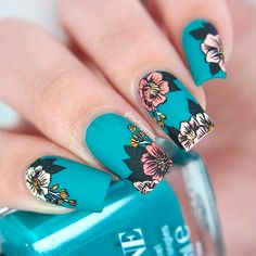 Dark teal nail polish with muted pink and yellow stamped flowers by Nail Designs Toenails, Teal Nail Designs, Flower Nail Designs, Acrylic Nail Designs, Nails Design, Teal Nail Polish, Teal Nails, Dark Nails, Yellow Nails