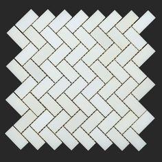 Thassos White Herringbone Mosaic from www.AllMarbleTiles.com #allmarbletiles