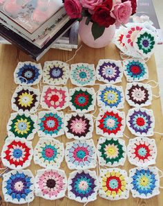 i wish I could do these bright granny squares.