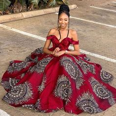 Red African Ball Gown | African Print Dresses | African Clothing Styles