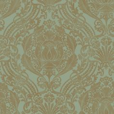 Green and gold damask wallpaper.  Would be gorgeous in my bedroom.  Not that I have the energy or willpower to wallpaper my entire bedroom.