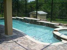 Simple Pool with Spa, Steps & Spillover